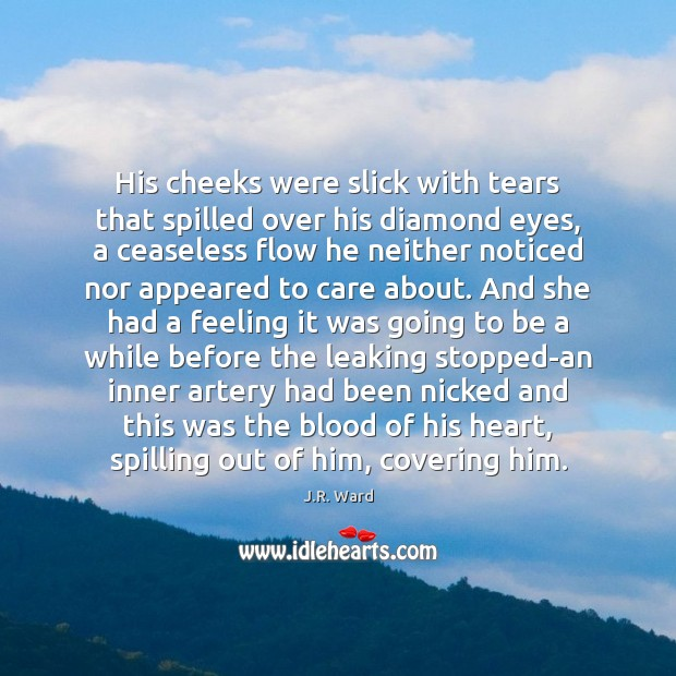 Image, His cheeks were slick with tears that spilled over his diamond eyes,