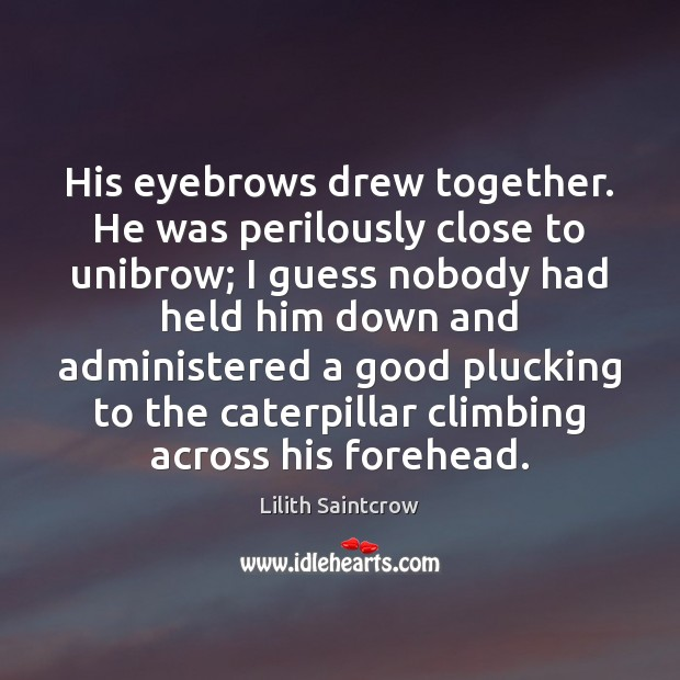 His eyebrows drew together. He was perilously close to unibrow; I guess Lilith Saintcrow Picture Quote