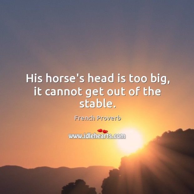 Image, His horse's head is too big, it cannot get out of the stable.