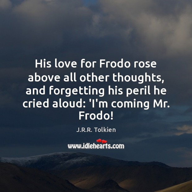 His love for Frodo rose above all other thoughts, and forgetting his Image