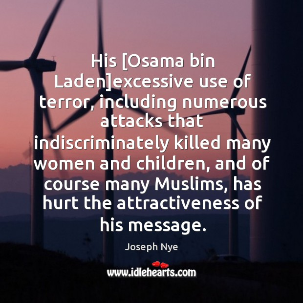 His [Osama bin Laden]excessive use of terror, including numerous attacks that Image