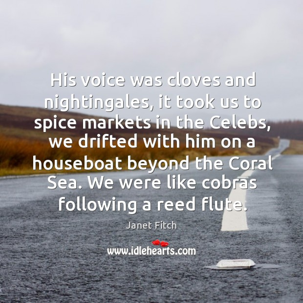 Image, His voice was cloves and nightingales, it took us to spice markets
