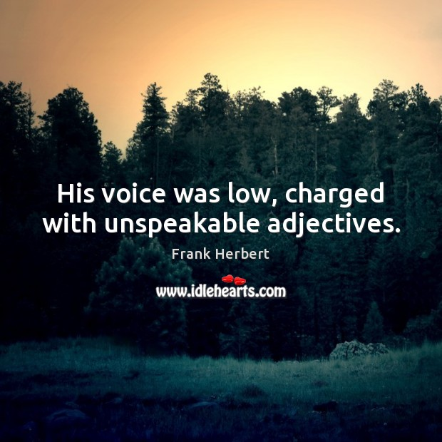 Image, His voice was low, charged with unspeakable adjectives.
