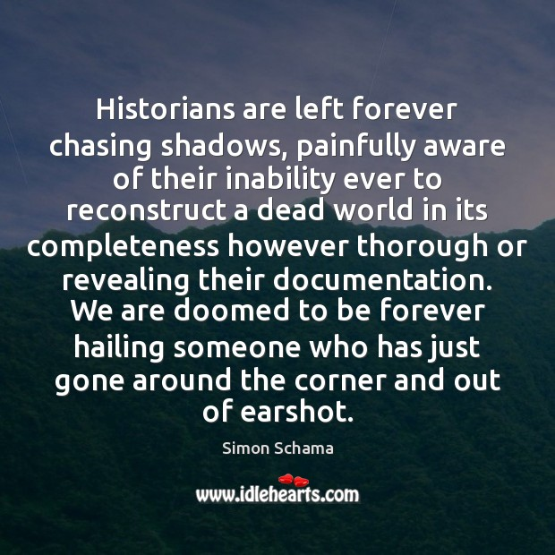 Historians are left forever chasing shadows, painfully aware of their inability ever Simon Schama Picture Quote