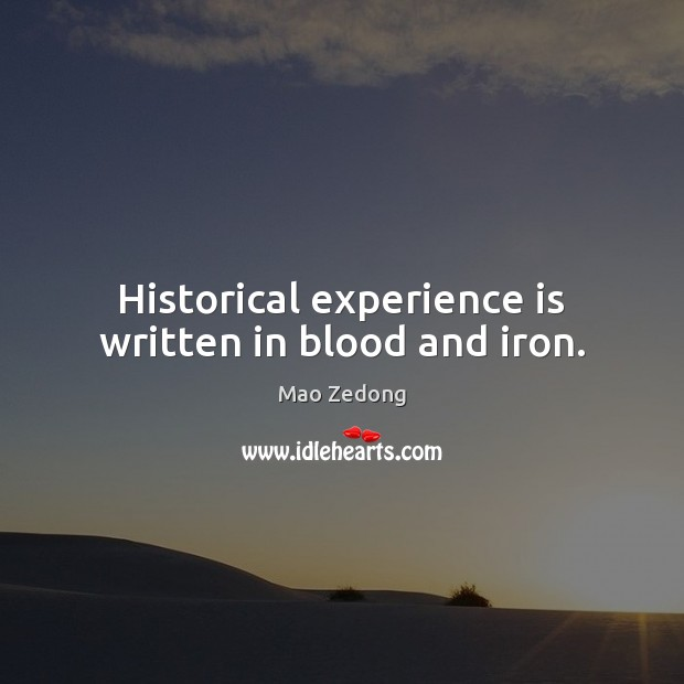 Historical experience is written in blood and iron. Experience Quotes Image