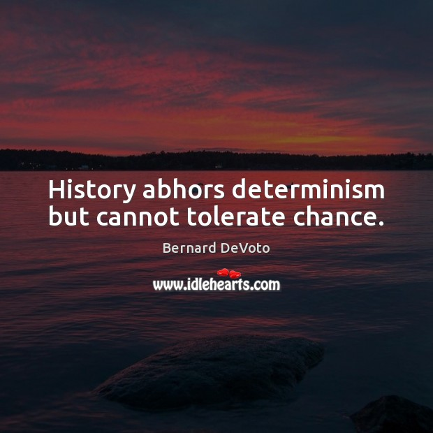 Image, History abhors determinism but cannot tolerate chance.