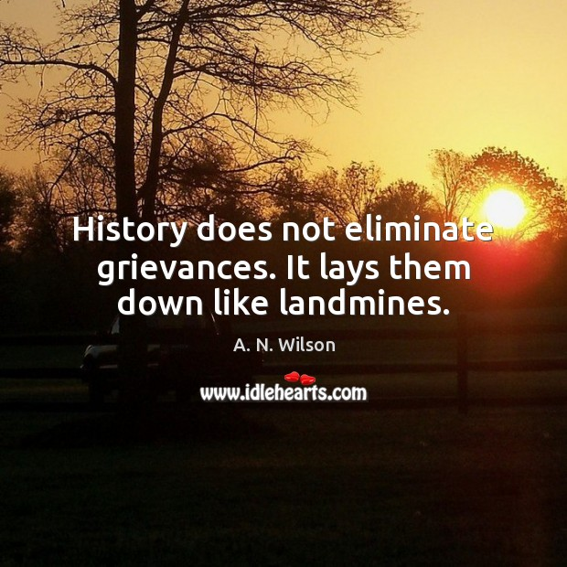 Image, History does not eliminate grievances. It lays them down like landmines.