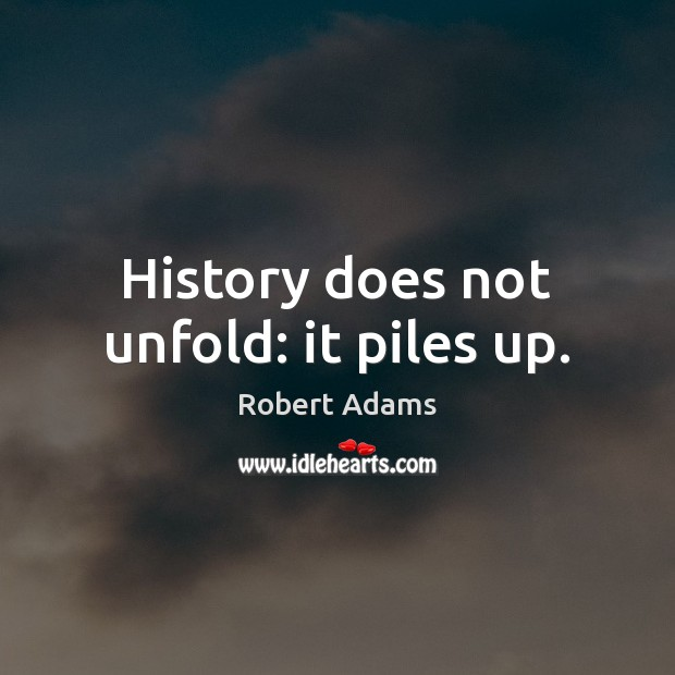 History does not unfold: it piles up. Robert Adams Picture Quote