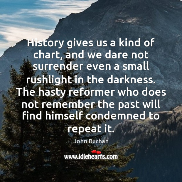 History gives us a kind of chart, and we dare not surrender John Buchan Picture Quote