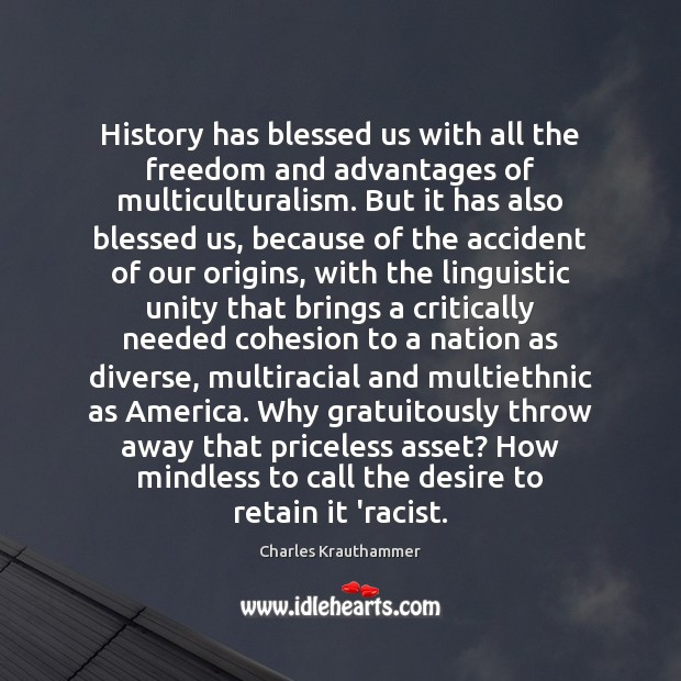 Image, History has blessed us with all the freedom and advantages of multiculturalism.