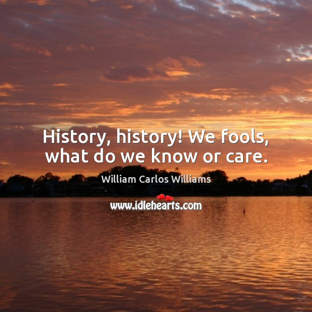 History, history! We fools, what do we know or care. William Carlos Williams Picture Quote