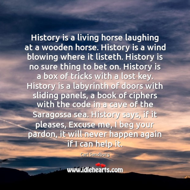 History is a living horse laughing at a wooden horse. History is Image