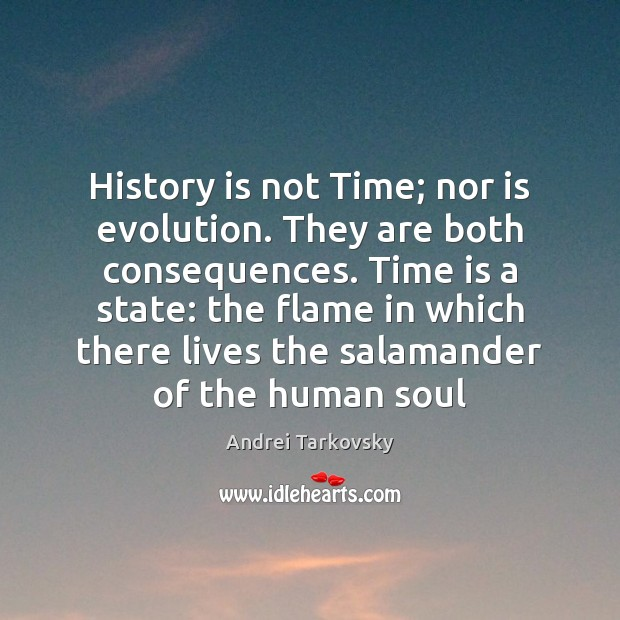 Image, History is not Time; nor is evolution. They are both consequences. Time