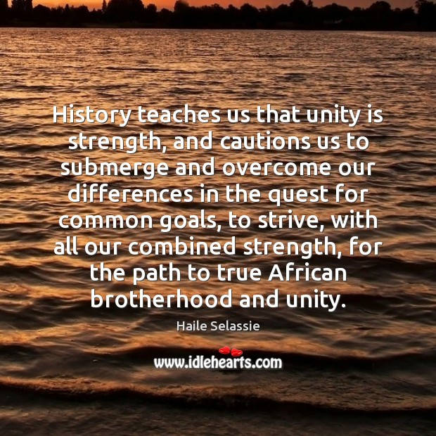 History teaches us that unity is strength, and cautions us to submerge Haile Selassie Picture Quote