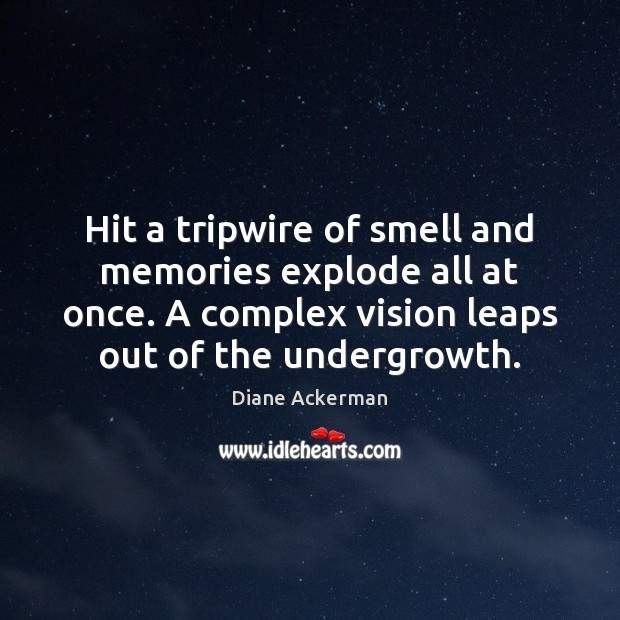 Hit a tripwire of smell and memories explode all at once. A Diane Ackerman Picture Quote