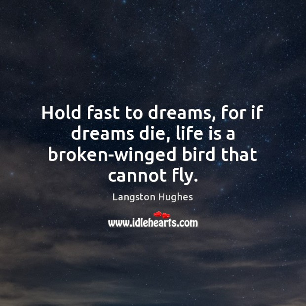 Image, Hold fast to dreams, for if dreams die, life is a broken-winged bird that cannot fly.