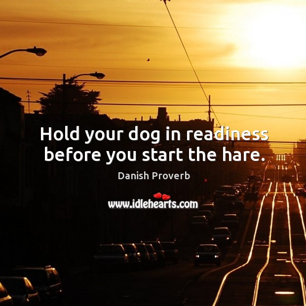 Hold your dog in readiness before you start the hare. Danish Proverbs Image