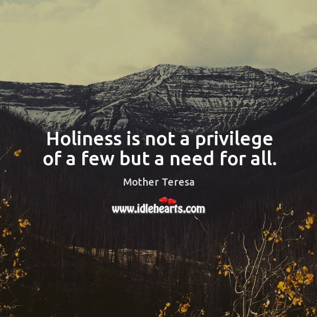 Image, Holiness is not a privilege of a few but a need for all.