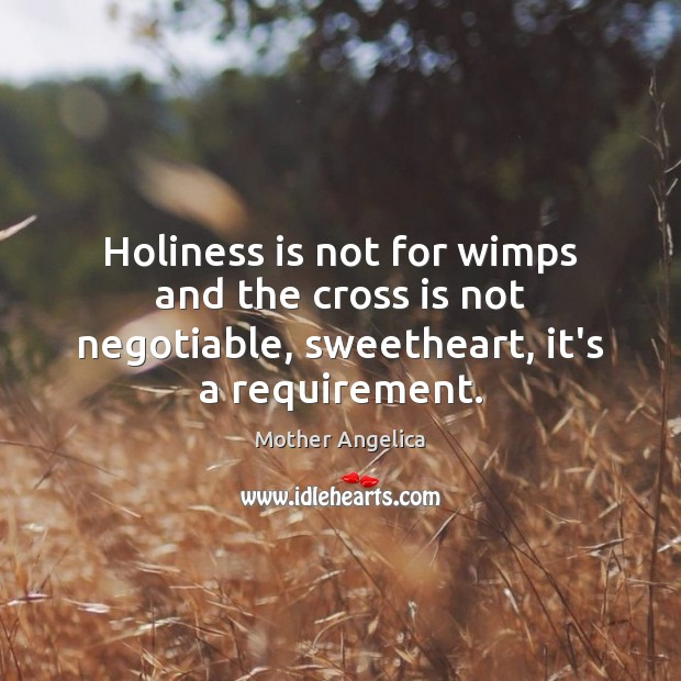 Holiness is not for wimps and the cross is not negotiable, sweetheart, it's a requirement. Mother Angelica Picture Quote