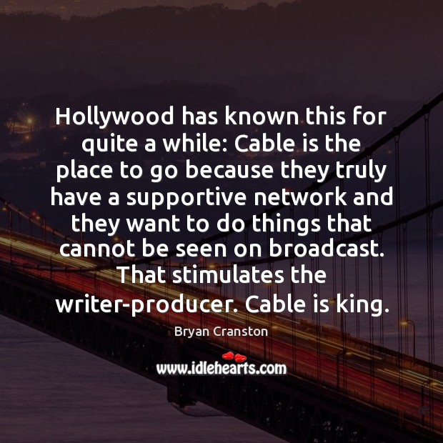 Image, Hollywood has known this for quite a while: Cable is the place