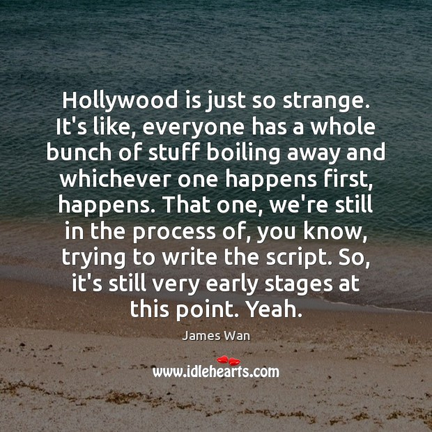 Hollywood is just so strange. It's like, everyone has a whole bunch James Wan Picture Quote