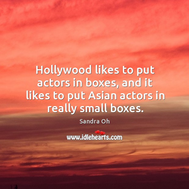 Hollywood likes to put actors in boxes, and it likes to put asian actors in really small boxes. Sandra Oh Picture Quote