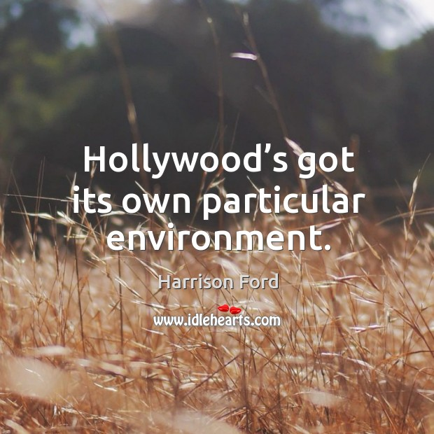 Image, Hollywood's got its own particular environment.