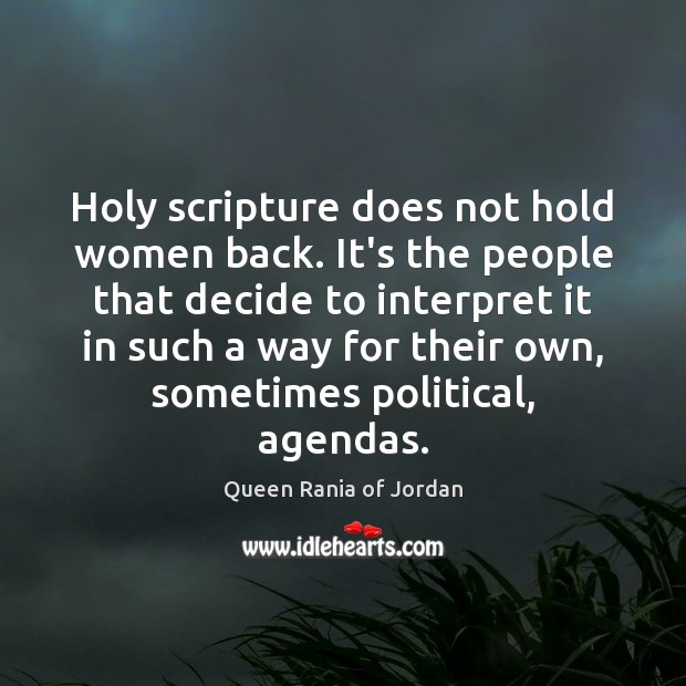 Holy scripture does not hold women back. It's the people that decide Image