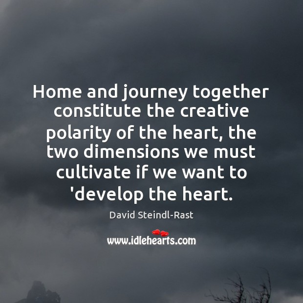Image, Home and journey together constitute the creative polarity of the heart, the