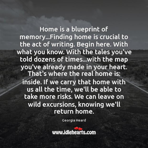 Home is a blueprint of memory…Finding home is crucial to the Image
