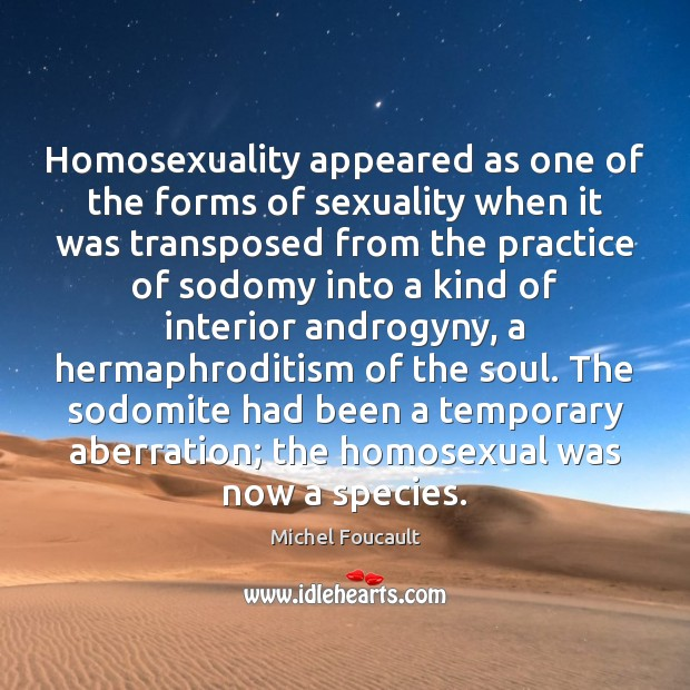 Image, Homosexuality appeared as one of the forms of sexuality when it was