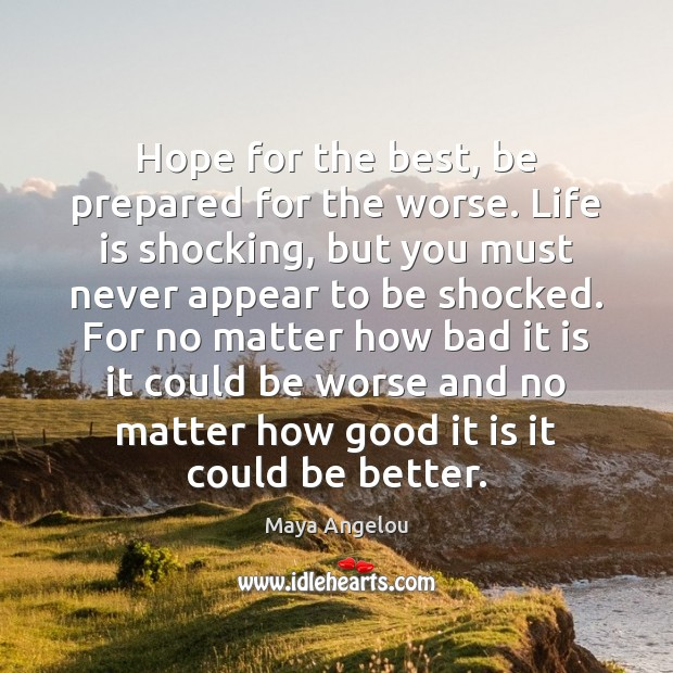 Image, Hope for the best, be prepared for the worse. Life is shocking,