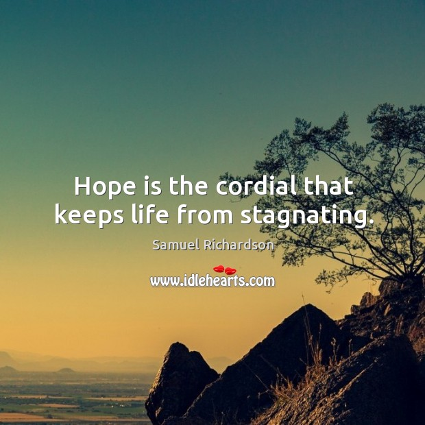 Image, Hope is the cordial that keeps life from stagnating.