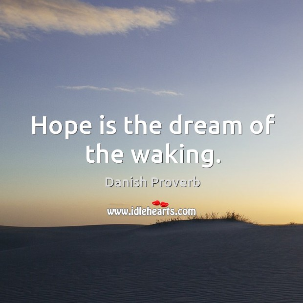 Hope is the dream of the waking. Danish Proverbs Image