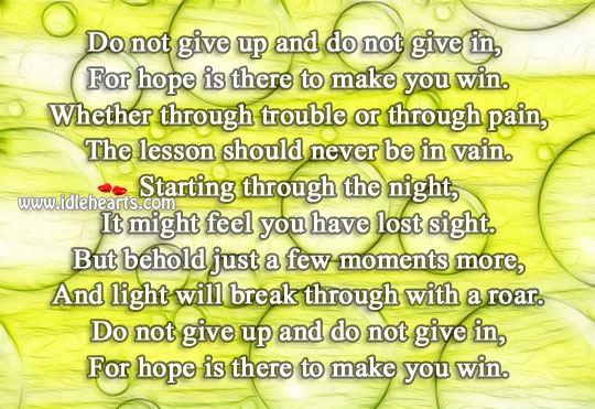 Hope is there to make you win Hope Quotes Image