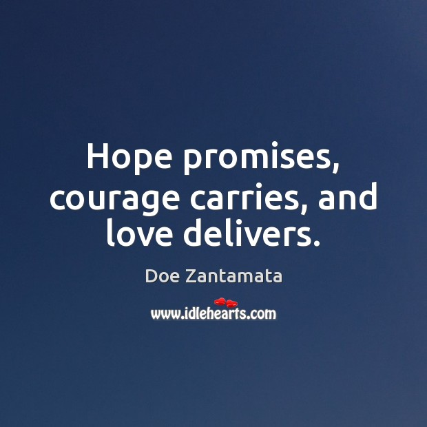 Hope promises, courage carries, and love delivers. Hope Quotes Image