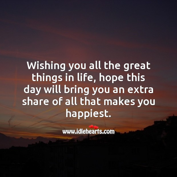 Hope this day will bring you an extra share of all that makes you happiest. Inspirational Birthday Messages Image