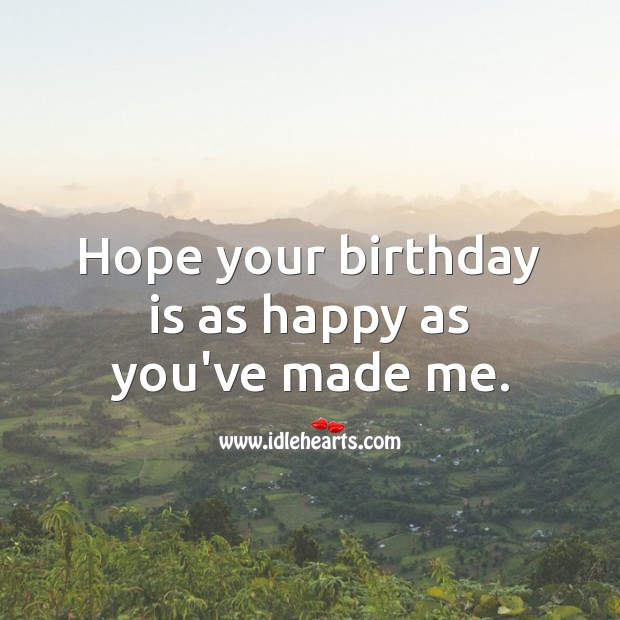 Hope your birthday is as happy as you've made me. Birthday Quotes Image