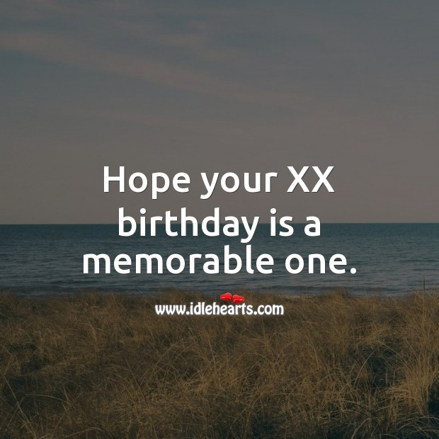 Hope your XX birthday is a memorable one. Age Birthday Messages Image