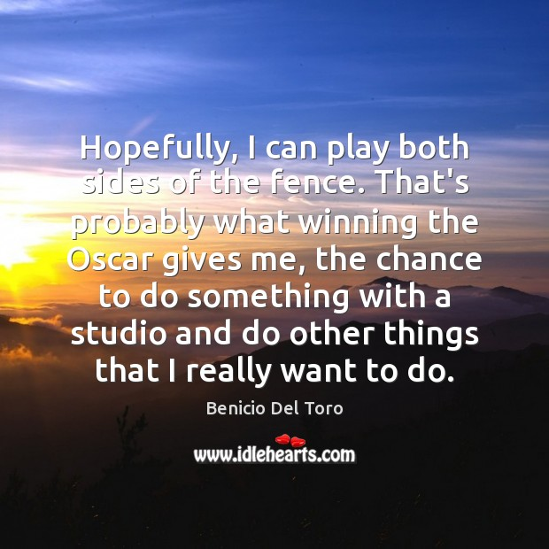 Hopefully, I can play both sides of the fence. That's probably what Benicio Del Toro Picture Quote
