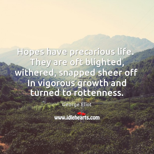 Hopes have precarious life.  They are oft blighted, withered, snapped sheer off Growth Quotes Image