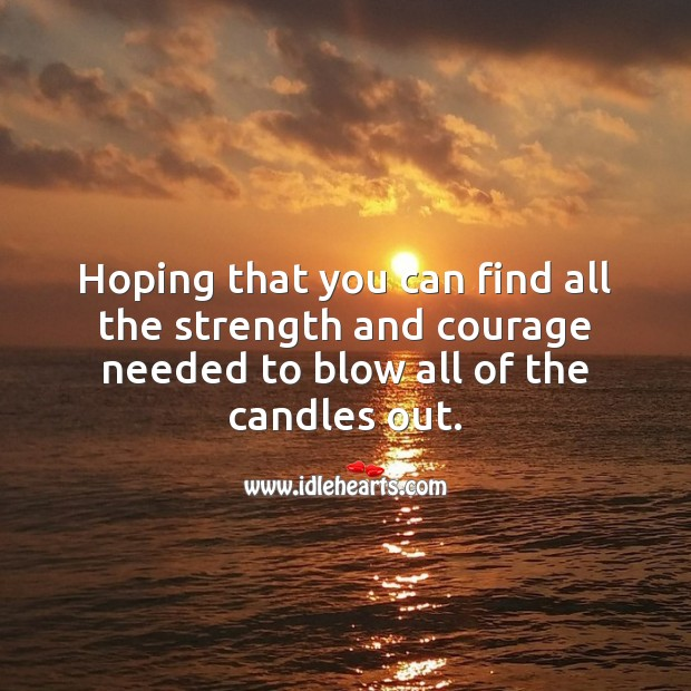 Hoping that you can find all the strength and courage needed to blow all of the candles out. Funny Birthday Messages Image
