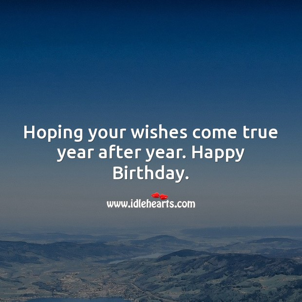 Hoping your wishes come true year after year. Happy Birthday Wishes Image