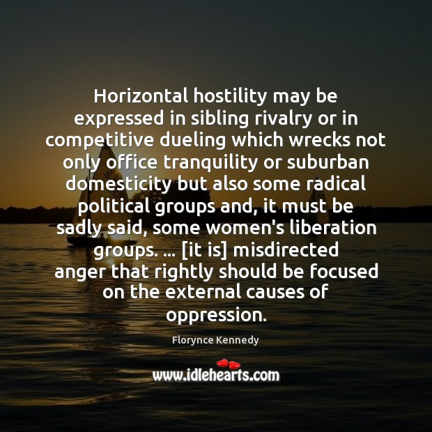 Image, Horizontal hostility may be expressed in sibling rivalry or in competitive dueling