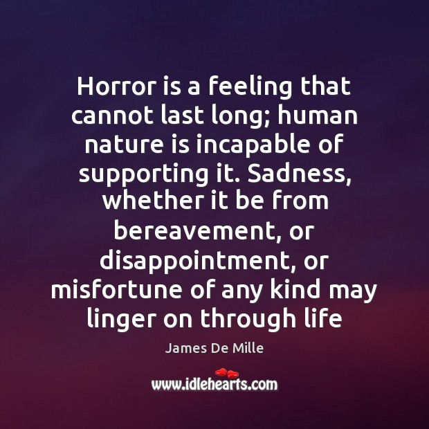 Horror is a feeling that cannot last long; human nature is incapable Image