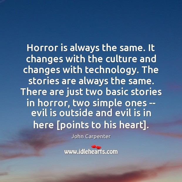 Image, Horror is always the same. It changes with the culture and changes
