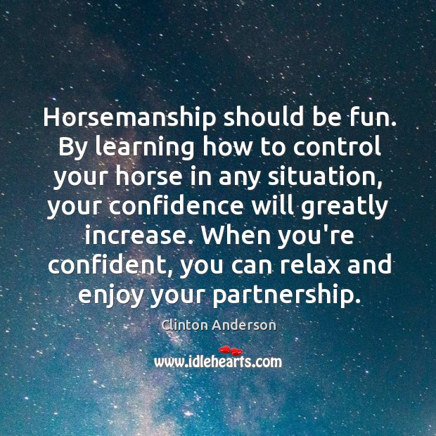 Horsemanship should be fun. By learning how to control your horse in Image