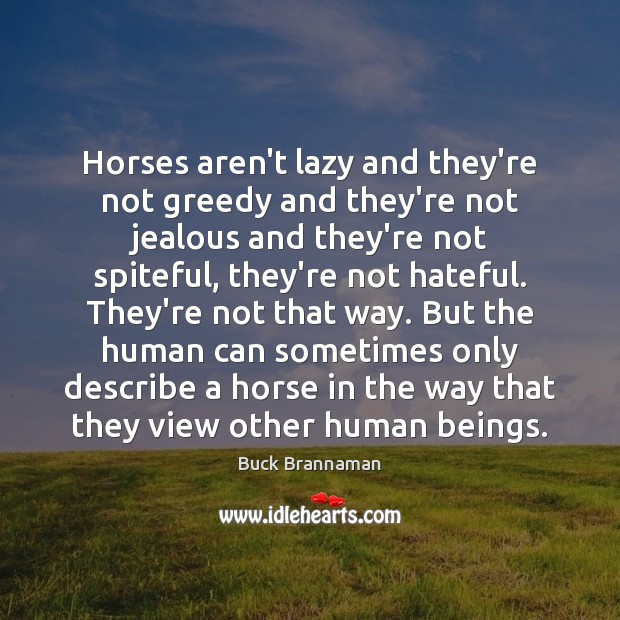 Image, Horses aren't lazy and they're not greedy and they're not jealous and