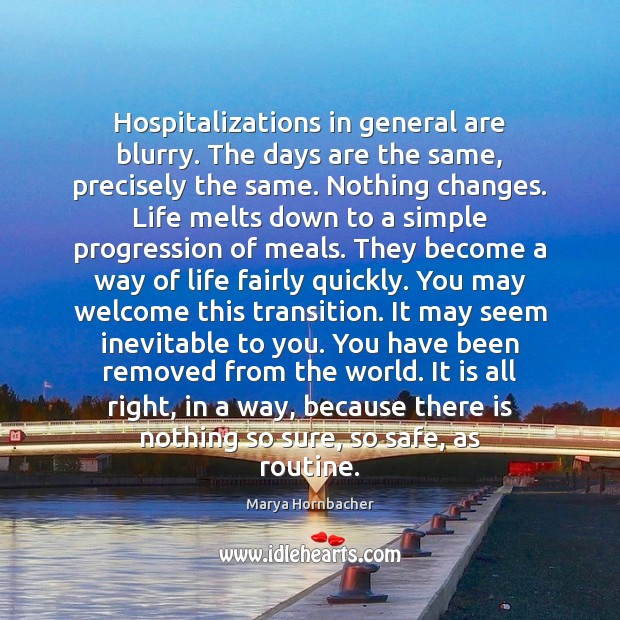 Hospitalizations in general are blurry. The days are the same, precisely the Marya Hornbacher Picture Quote