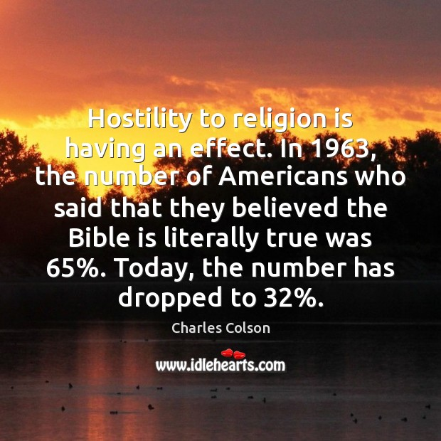 Hostility to religion is having an effect. In 1963, the number of Americans Charles Colson Picture Quote